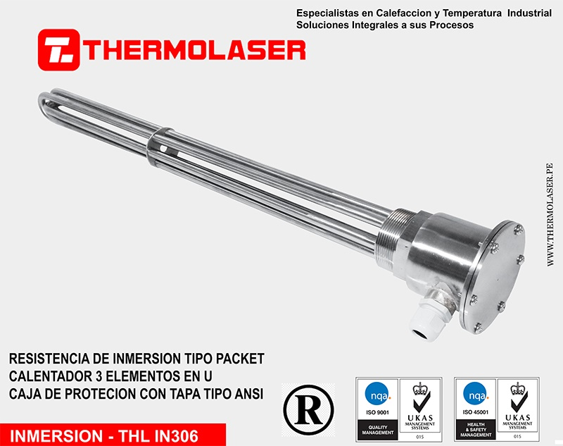 RESISTENCIA DE INMERSION TIPO PACKET - BRIDA ROSCADA DE ACERO INOX.
