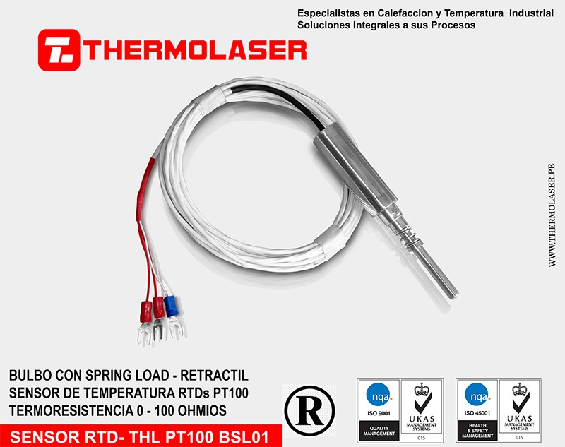 PT100 SPRING LOAD - RETRACTIL - CABLE DE 3 HILOS TEFLONADO